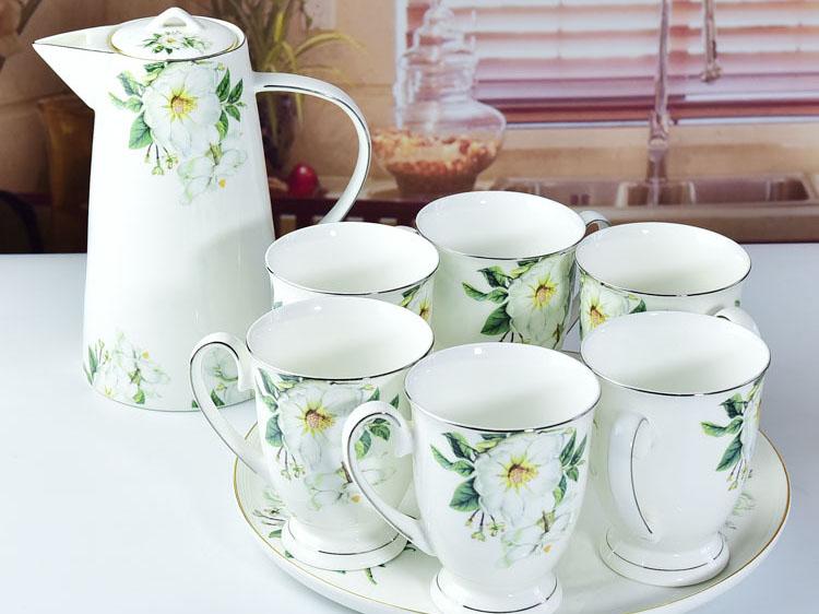 唐山骨瓷厂家生产销售骨瓷水具套装耐热冷水壶