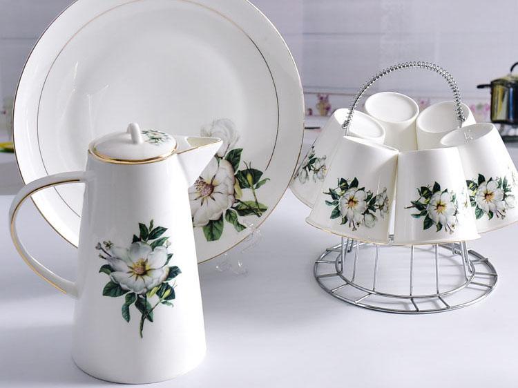 骨瓷厂家批发 陶瓷水具套装家用带托盘骨瓷水壶