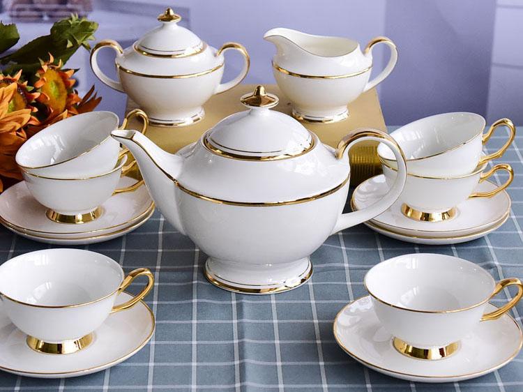 亿美陶瓷欧式15头骨瓷咖啡杯套装