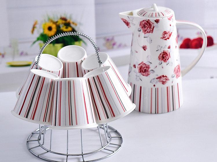 骨瓷厂家生产销售陶瓷水壶套装一壶六杯带杯架