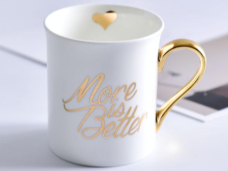 创意金把骨瓷杯陶瓷反口水杯