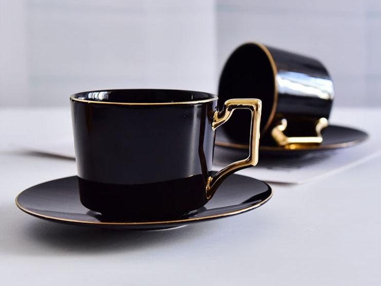 骨瓷咖啡杯套装 欧式黑釉包金骨瓷