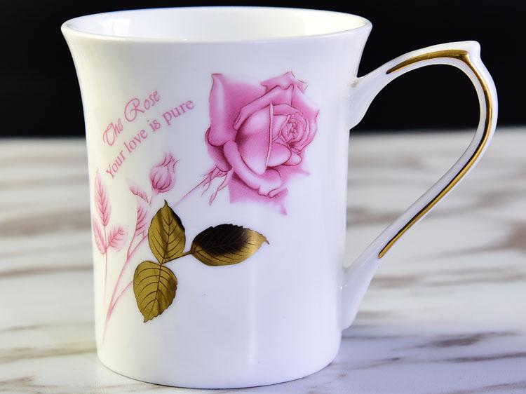 陶瓷金叶玫瑰礼品反口杯