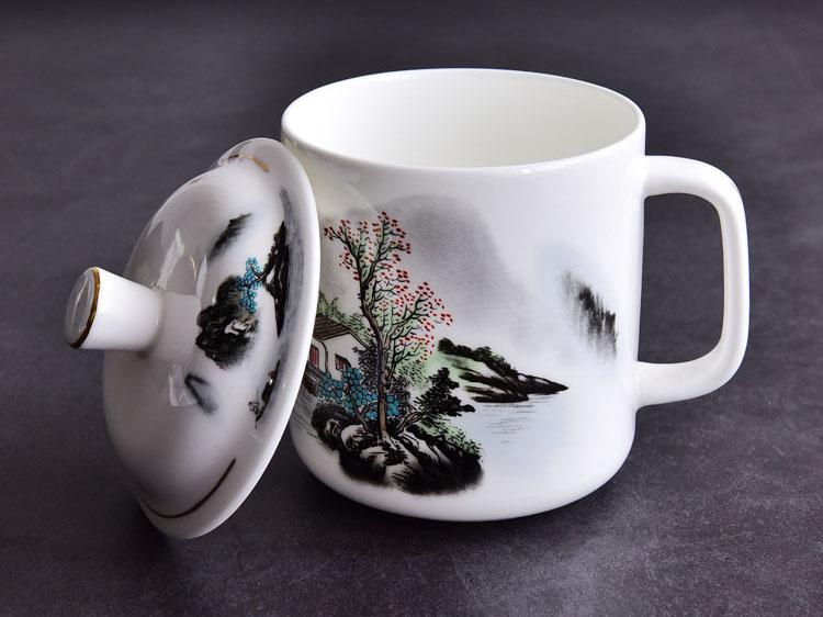 陶瓷会议杯 骨质瓷带盖水墨风景会议杯