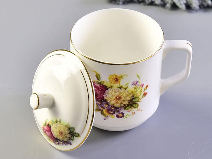 陶瓷水杯 骨瓷带盖会议杯 金边办公礼品茶杯