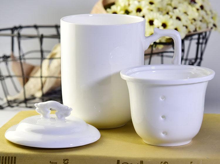 骨质瓷龙杯会议盖杯陶瓷茶杯带茶漏