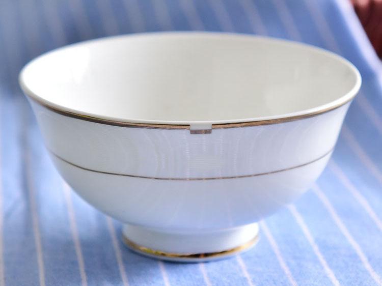 骨瓷餐具碗盘碟 金边4.5寸家用高脚