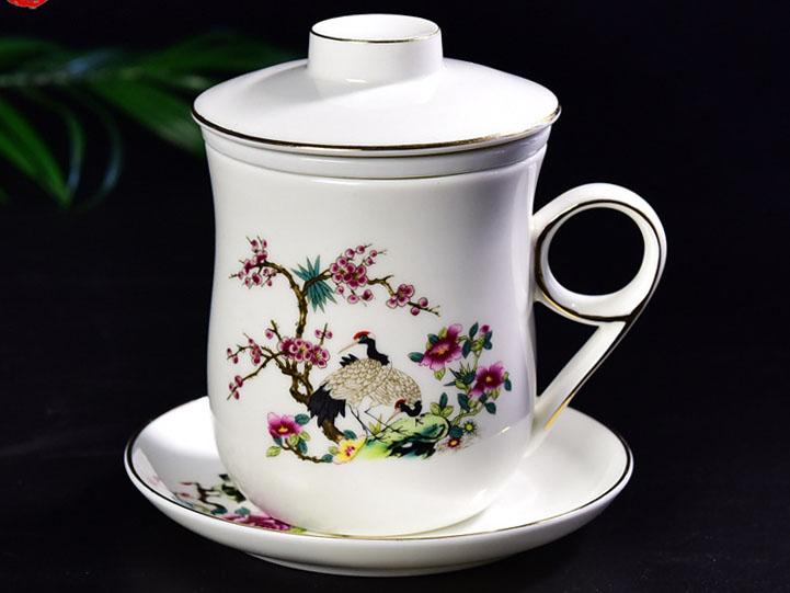 陶瓷办公杯 手绘带茶漏金把骨瓷茶杯定制
