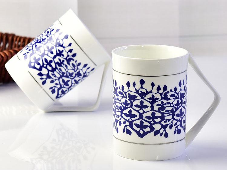 陶瓷杯子 创意骨瓷转角杯大容量礼