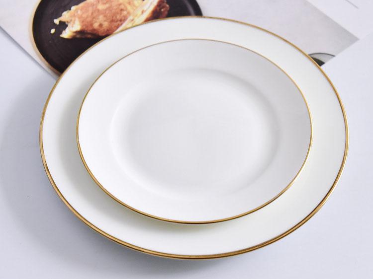 宽金边酒店骨质瓷盘餐具礼品套装