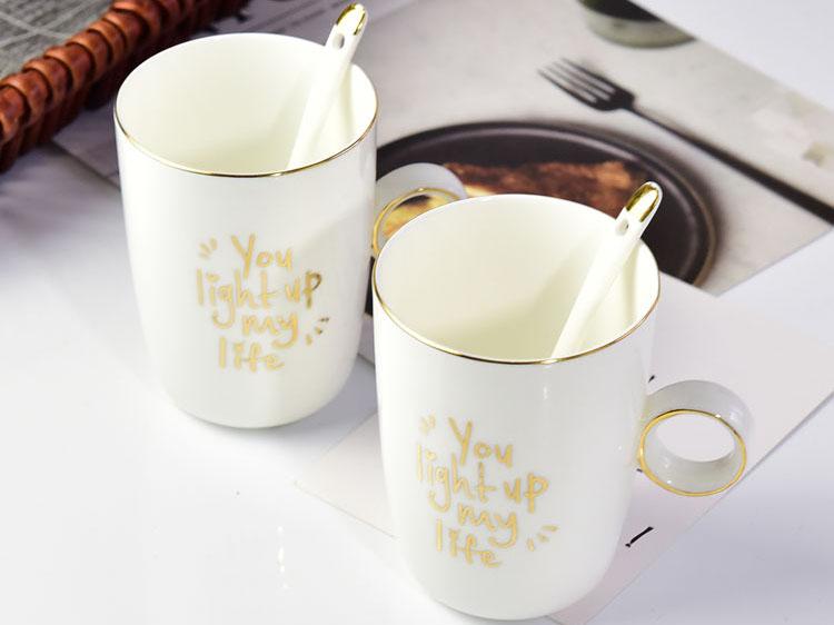 金边骨瓷马克杯烫金钻石杯创意咖