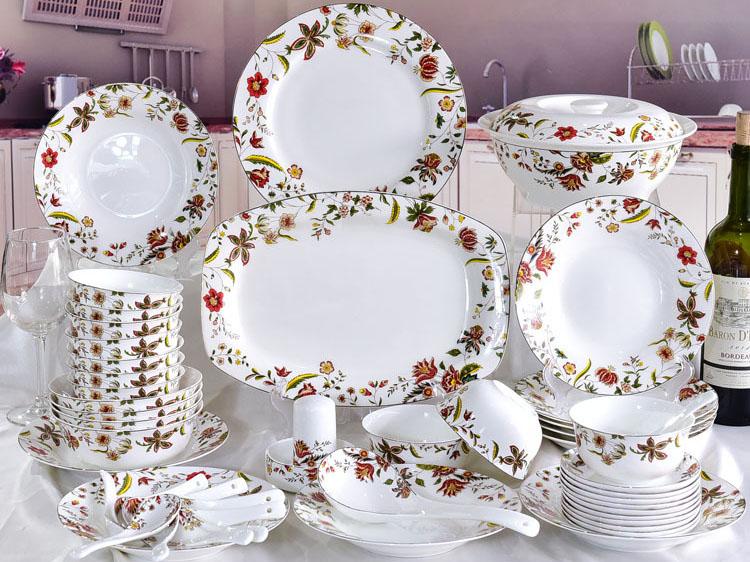 家用46头骨瓷碗盘碟餐具礼品套装