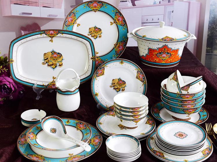 家用酒店骨瓷碗盘碟餐具套装定制