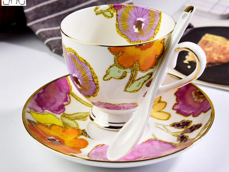 陶瓷咖啡杯套装 金边欧式花语骨瓷咖啡杯碟