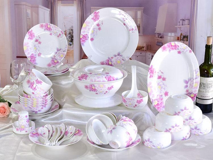 50头骨瓷碗盘碟餐具套装定制