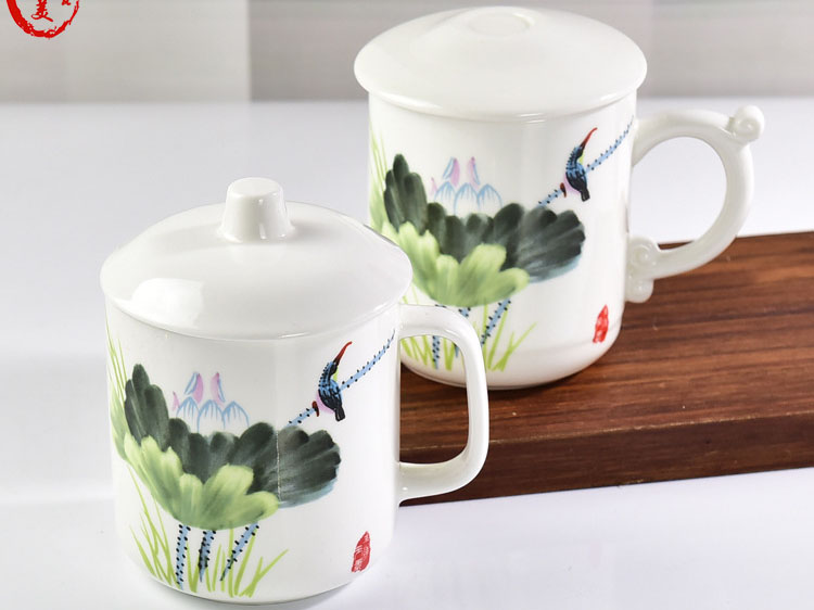 陶瓷茶杯 手绘骨瓷马克杯创意办公会议杯