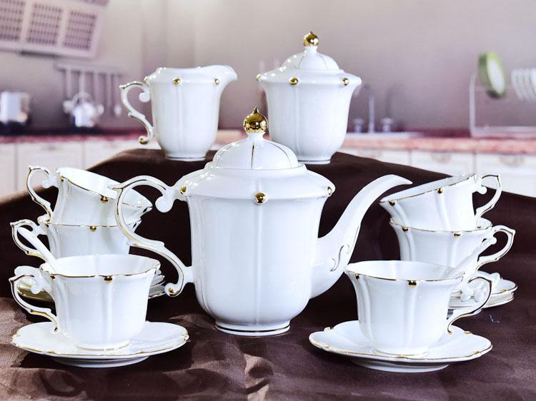 唐山骨瓷厂家定制批发金珠15头咖啡具套装