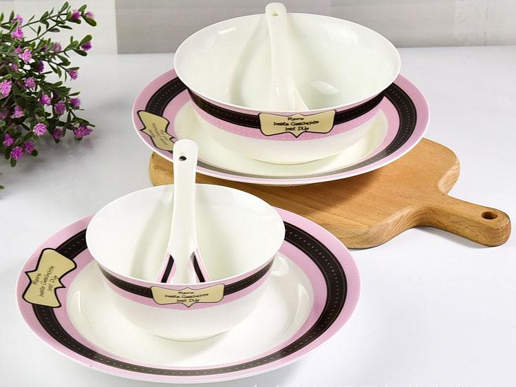 双人6头骨瓷餐具套装定制批发