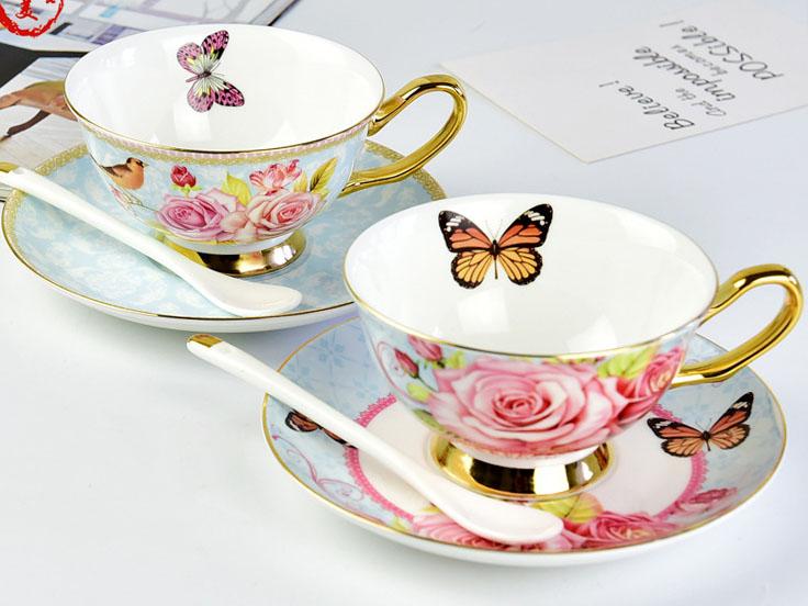 骨瓷欧式蝴蝶咖啡杯碟定制批发
