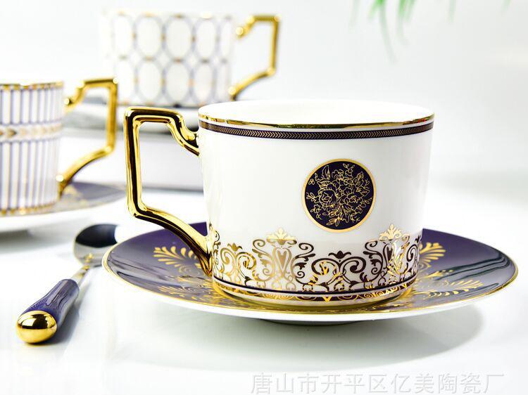 陶瓷咖啡杯碟 金把骨瓷礼品杯碟定制