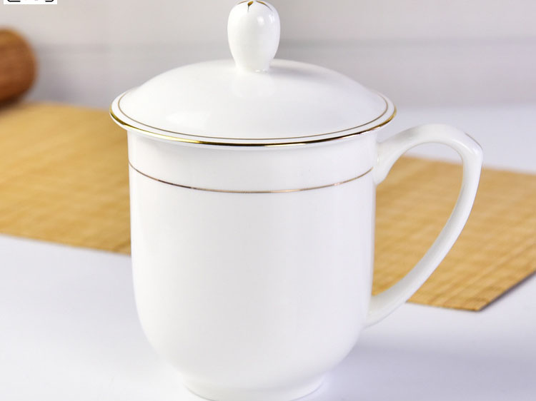 陶瓷茶杯 带盖描金骨瓷会议办公杯定制LOGO