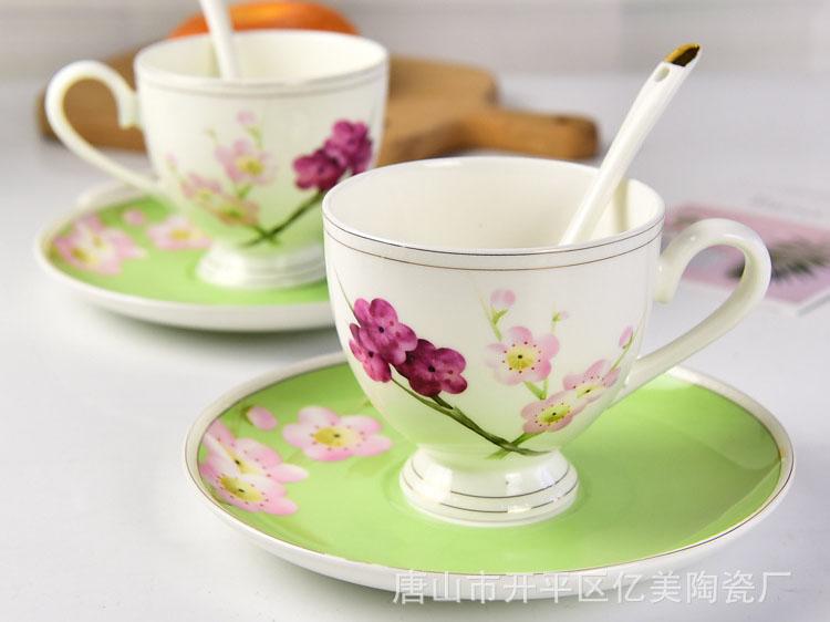 唐山骨瓷厂家批发陶瓷咖啡杯套装 金边骨瓷下午
