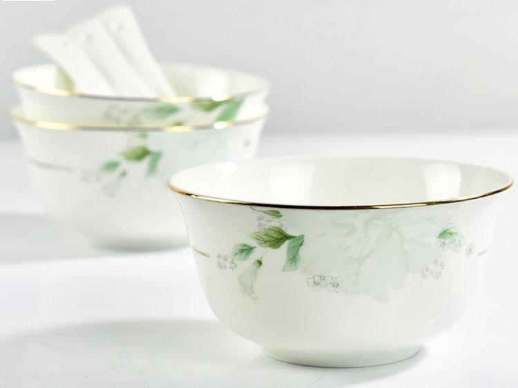 家用骨瓷餐具碗 骨瓷4.5寸金边米饭碗
