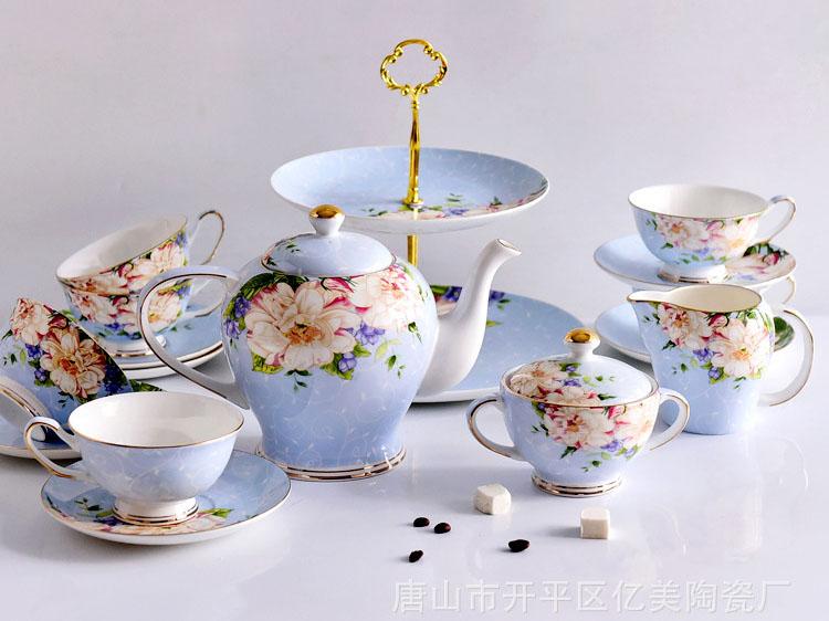 骨瓷厂家批发定制15头欧式骨瓷咖啡具套装