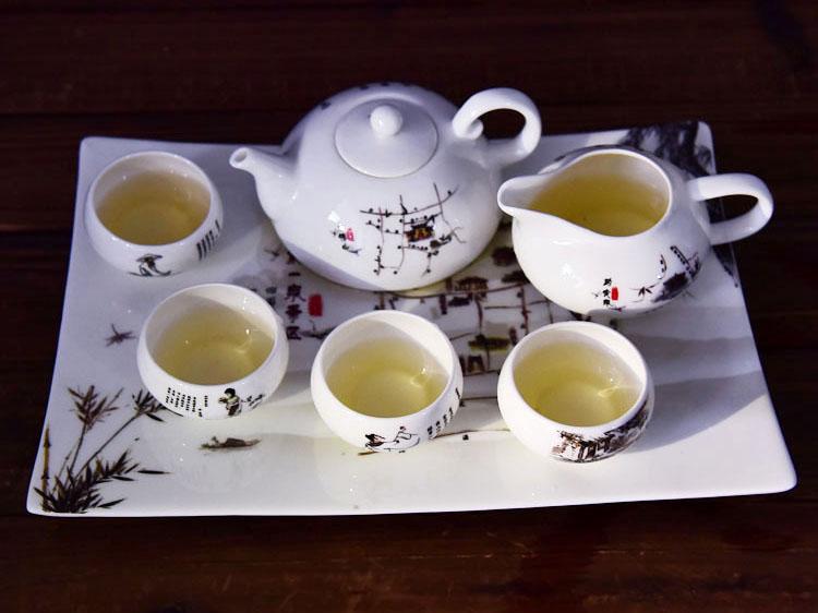 批发陶瓷茶具 创意骨瓷带茶盘礼品套装