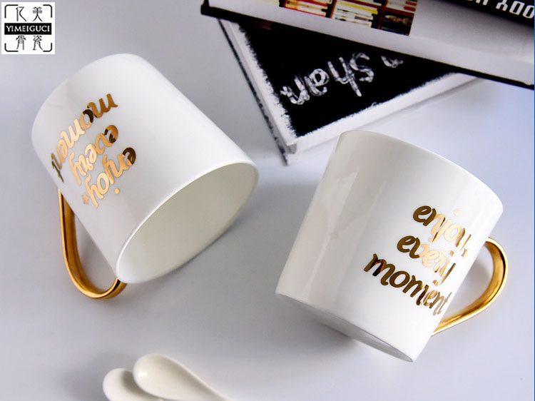 陶瓷广告杯 V型骨瓷咖啡马克杯定制LOGO
