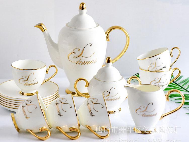 唐山骨瓷厂家批发定制15头舒适生活咖啡具套装
