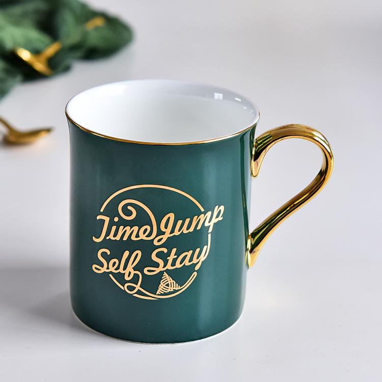 创意陶瓷杯定制logo 绿色骨瓷马克杯简约水杯 厂