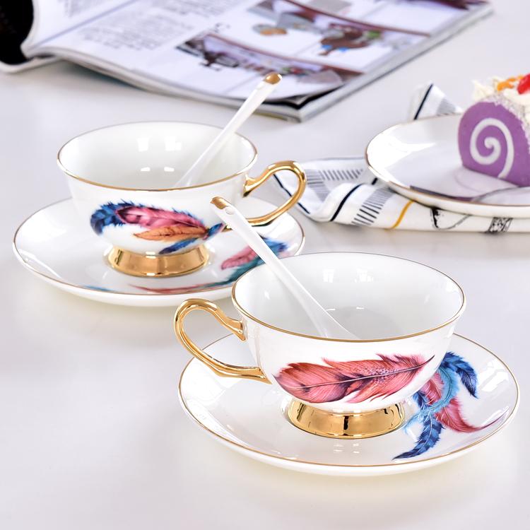 骨瓷羽毛咖啡杯碟定制批发