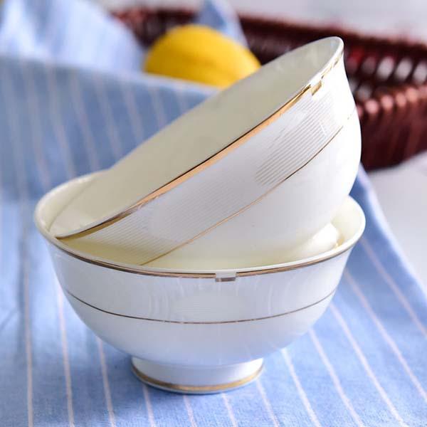 陶瓷餐具 金边4.5寸家用高脚碗