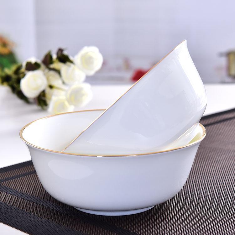 金边6寸陶瓷面碗 陶瓷餐具定制批发