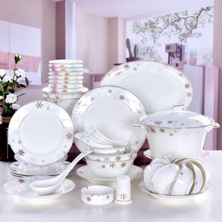 40头雪中花陶瓷餐具套装