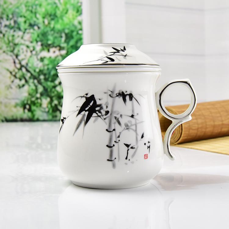 墨竹骨瓷茶漏盖杯
