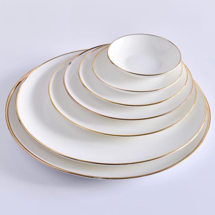 宽金边月光陶瓷盘 陶瓷餐具定制