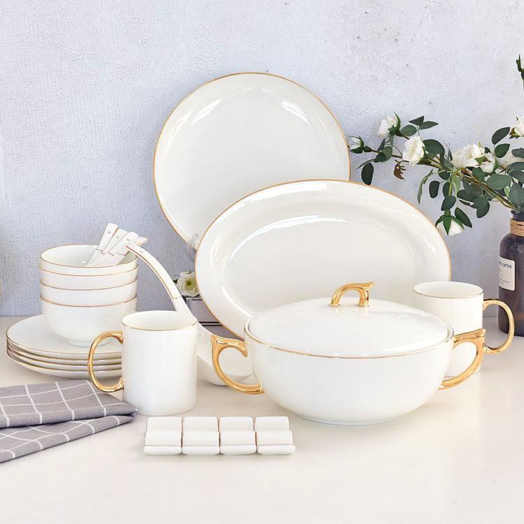22头金边陶瓷餐具套装礼品套装
