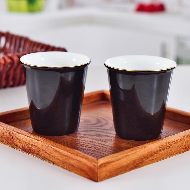 黒釉金边小环保陶瓷杯