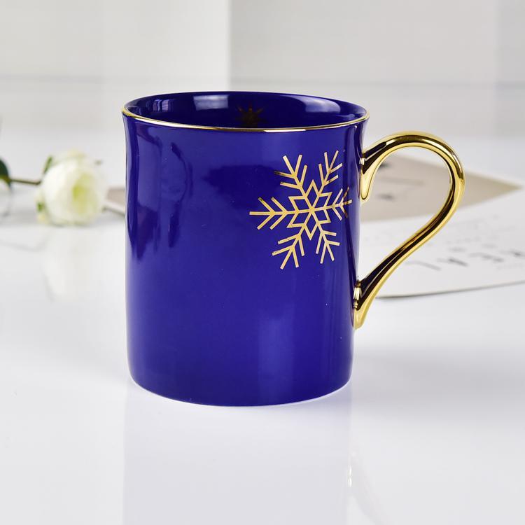 蓝釉雪花陶瓷马克杯