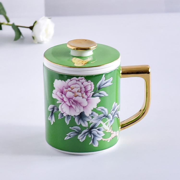 绿釉花卉骨瓷茶漏盖杯