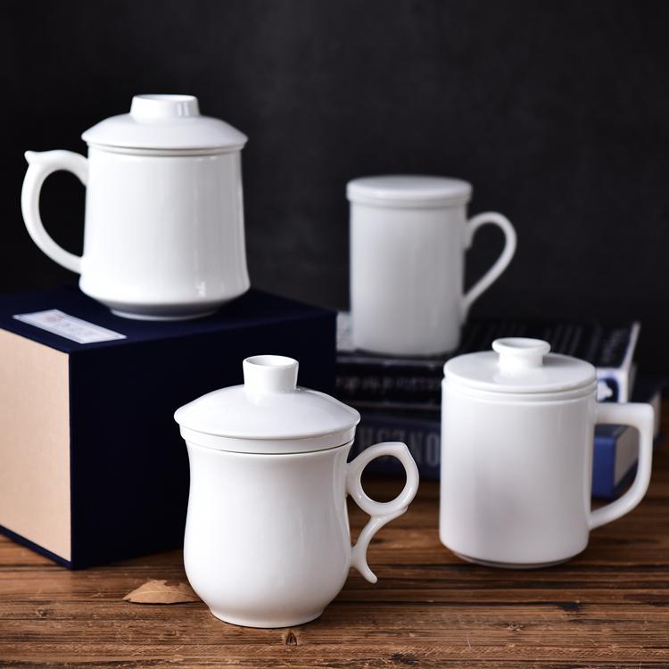骨瓷纯白茶漏盖杯