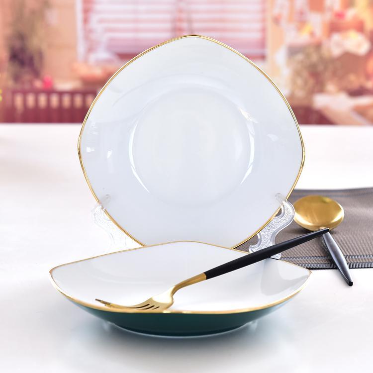 陶瓷金边绿釉方盘