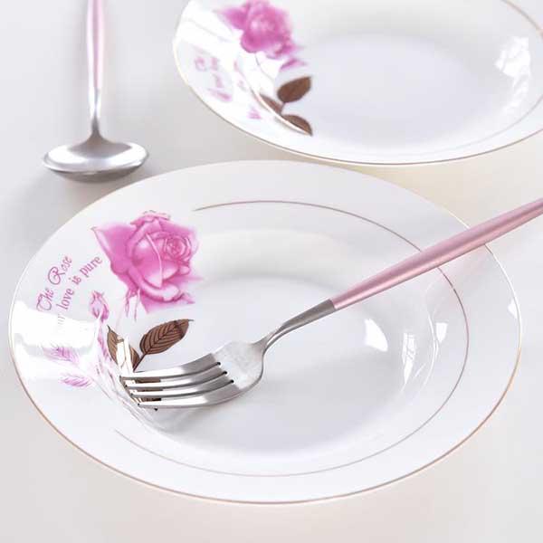 金叶玫瑰8寸陶瓷汤盘