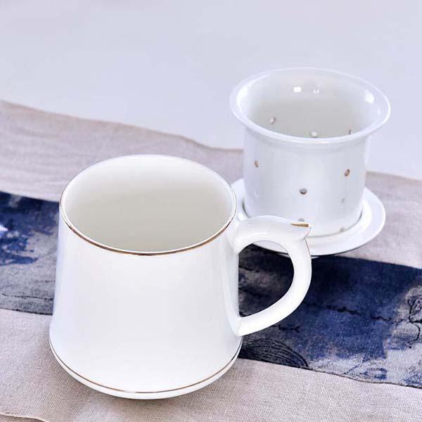 金边骨瓷大茶漏盖杯