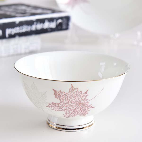 枫叶4.5寸陶瓷高脚碗