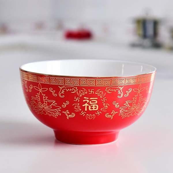 红釉 4.5寸陶瓷寿碗 陶瓷餐具定制