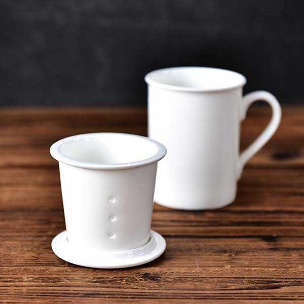 纯白骨瓷茶漏杯定制