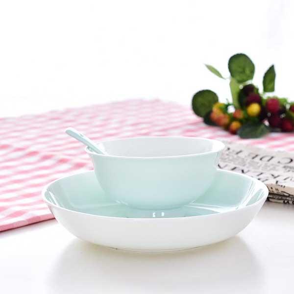 清新色釉单人陶瓷餐具定制